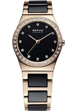 Bering Womens 32435-746 Ceramic Black Dial Rose Gold Stainless Steel Band Watch