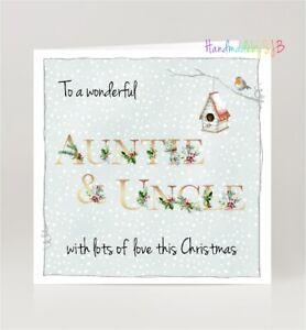 Wonderful Auntie & Uncle Christmas Greeting Card, Winter Robin, Blank Inside