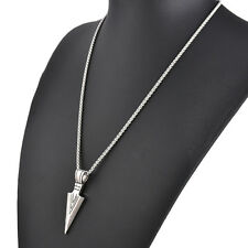 Fashion 316L Stainless Steel Arrow Head Sword Pendant Womens Mens Necklace Chain