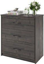 Mainstays 3 Drawer Chest Dresser Bedroom Furniture Contemporary Black Oak