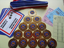 WELL DONE AND CONGRATULATIONS MEDALS 50  MM METAL /RIBBON / CERTIFICATES X 15
