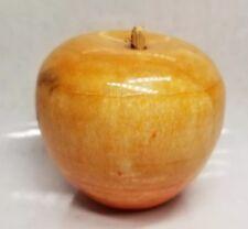 Vintage Italian Alabaster Marble Apple w/ wood stem, polished paperweight.11