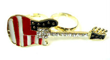 RETRO AMERICAN FLAG  GOLD GUITAR RING CHUNKY STATEMENT DIAMANTE COLORFUL (ST71)