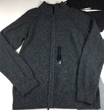 New Mark Anthony Mens Grey Marled Wool Blend Sweater-Jacket Zip Front Size Large