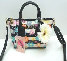"BETSEY JOHNSON XBody Messenger Bag Mini Satchel ""Black/White Floral Purse $58"