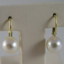 SOLID 18K YELLOW GOLD LEVERBACK EARRINGS WITH AKOYA PEARLS 8 MM, MADE IN ITALY