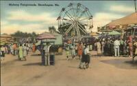 Skowhegan ME Fair Midway Ferris Wheel Merry Go Round Linen Postcard