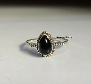 Black Onyx Band Ring 925 Sterling Silver Plated Handmade Ring Size 10 k227