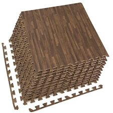 Sorbus Interlocking Floor Mat 48 Sq ft (Wood Grain - Dark, 12 Tiles)