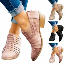 Womens Chunky Low Heel Ankle Boots Ladies Almond Toe Casual Shoes Zipper Booties