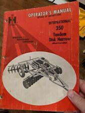 Ih International 350 Tandem Disk Harrow Wheel Controlled Owner Operator Manual