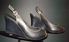 Women's DonaldJ Pliner Black Leather Peep-Toe Slingback Wedge Sz. 9M MINTY!