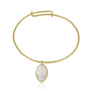 Crystal Gemstone Gold Plated 925 Silver Handmade Bangle Bracelet Jewelry
