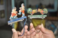 Vintage Mechanical Boxing Fighters & Hen Feeding Grains Litho Tin Toy,Japan?