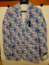 IZOD Boys Blazer Jacket Rosebud Plaid Pink Blue White - Size 20 Reg