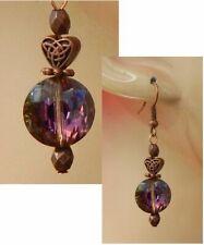 Copper Earrings Purple Beaded Drop Dangle Handmade Jewelry Hook Women Fashion