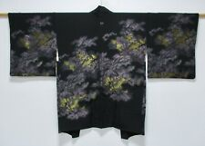 JAPANESE KIMONO SILK HAORI / GOLD THREADS WEAVE / BLACK / SILK FABRIC /67