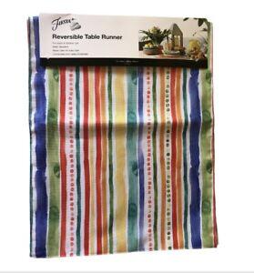 """Fiesta Table Runner Antigua Stripe Reversible Indoor Outdoor 14x72"""" Water Repell"""