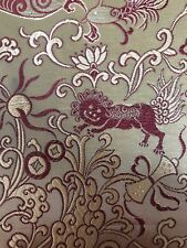Vintage Chinese Gold Silk Brocade Textile Panel