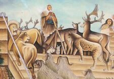 Noah And The Ark With Animals In Miniature Painting
