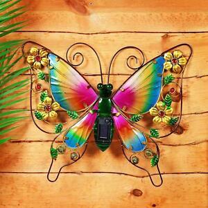 Solar Powered Led Butterfly Wall Art Light Outdoor Garden Decoration Novelty