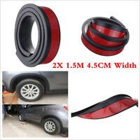 Black 2x 1.5m Universal Flexible Car Fender Flares Extra Wide Body Wheel Arches