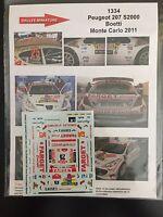 DECALS 1/43 PEUGEOT 207 S2000 BOETTI RALLYE MONTE CARLO 2011 RALLY WRC