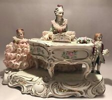 "MV Irish Dresden Porcelain Lace Figural ""Music Hour"" Piano Children"