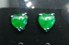 Green jade stone studs stainless steel