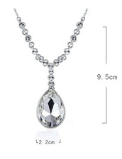 Water Rain Drop Silver Blue/Clear Cubic Zirconia White Gold GP Pendant Necklace
