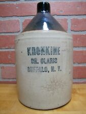 KRONKINE DR CLARIS BUFFALO NY Antique Stoneware Pottery Jug Veterinary Medicine