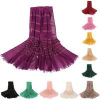 Muslim Women Long Scarf Arab Cotton Shawl Wrap Hijab Head Stole Scarves 180*80cm
