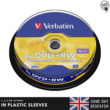 Verbatim DVD+RW Re-writable Recordable Blank DVD RW Discs + Sleeves 1/5/10 Pack