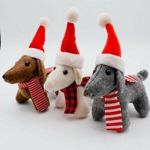 SANTA DOG large fabric CHRISTMAS TREE DECORATION shelf ornament *CHOOSE COLOUR*