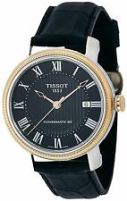 New Tissot Bridgeport Powermatic 80 Black Leather Mens Watch T0974072605300