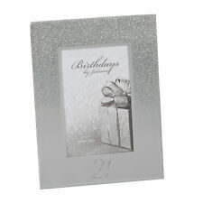 "Silver Glitter & Mirror 4""x6"" Photo Frame with Number - Choose Design"