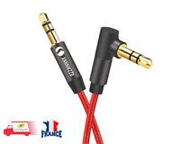 Audio Câble 3.5mm Jack Audio Stéréo Auxiliaire Mâle vers Mâle 90 Degrés 1M