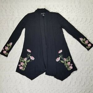 Inc International Concepts XS Black Embroidered Cardigan Long Sleeve Open Front
