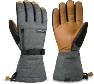 2020 Men's Dakine Titan Leather Gore Tex 5 Finger Ski Gloves Size 9.5 XL Carbon
