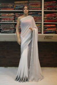 Silk Indian Sequin Silver Work White Saree Designer Bollywood Wedding Party Sari