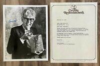 Orville Redenbacher - Popcorn King Signed Auto Autograph 8x10 Photo & Letter Set