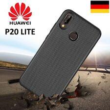 Handy Hülle Karbondesign für Huawei P20 LITE Case Schale TPU dünn schwarz P 20