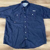 Columbia PFG Fishing Shirt Men's XL Navy Blue Omni Shade Vented Short Sleeve
