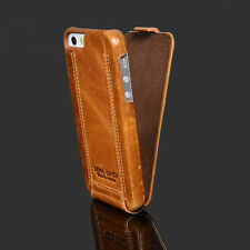 PIERRE CARDIN Genuine Leather Hard Back Case Cover For Apple iPhone SE 5S Brown