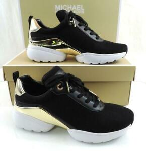 Women's Shoes Michael Kors Jada Trainer Lace Up Sneaker Mesh Black Gold Size 7.5
