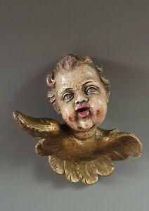 Barock Figur Engel Holz geschnitzt gefasst Heiligenfigur Putto Putte 18. Jh.