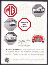 "1960 MG MGA 1600 Convertible 4 photo ""More Go - More Stop"" vintage print ad"