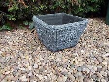 Small square Tudor rose and acorn planter garden ornament
