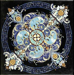 42 Inches Marble Restaurant Table Top Handmade Dining Table with Pietra Dura Art