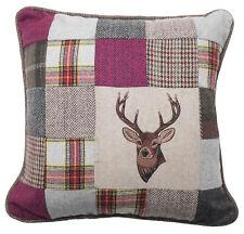 Small Medium Super Soft Tweed Style Cushion Embroidered Stag Pink Tartan Grey